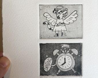 Calaveras Drawing Etchings Sweet Size Illustration Art Angel Dog and Awakening; Original Engraving Aquatinte