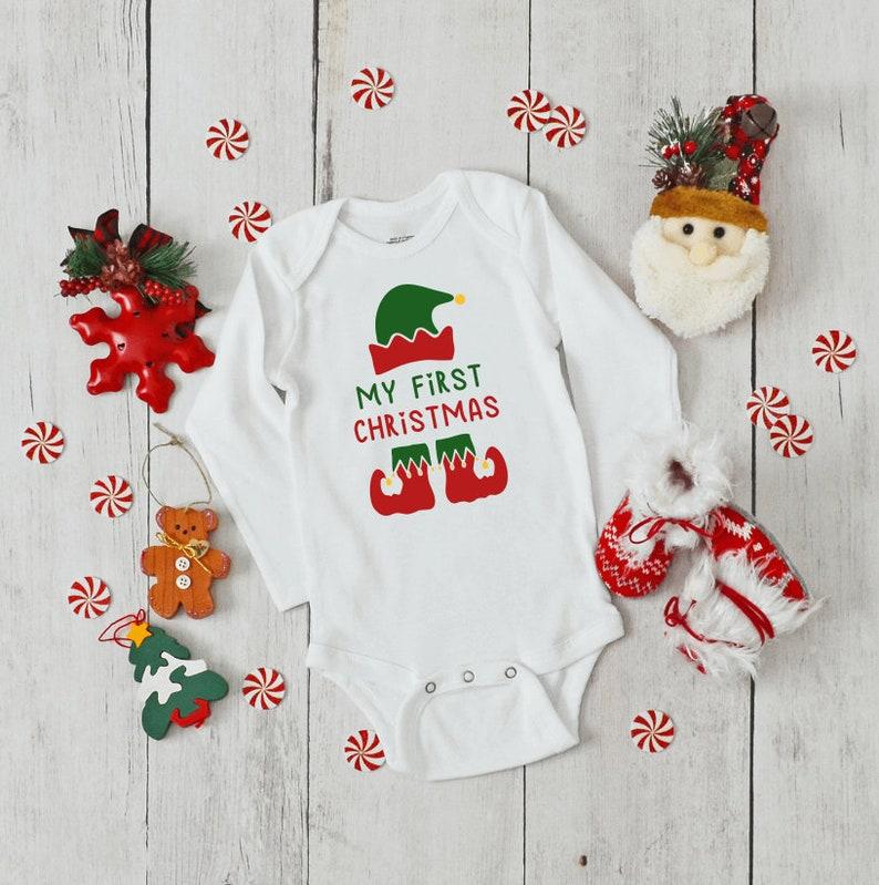 Jumpsuit Romper Bodysuit Baby My First Christmas Bodysuit Monkey Holiday Infant Newborn My 1st Christmas Romper Elf