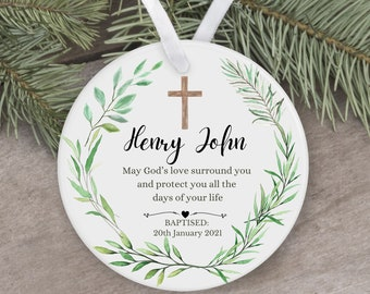 Personalised Christening Baptism Baby Christmas Ceramic Round Floral Ornament Decoration Keepsake