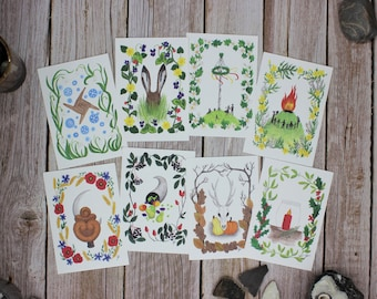 Postcards Set Annual Circle Festivals Wiccan Paganism Waldorf Solstice