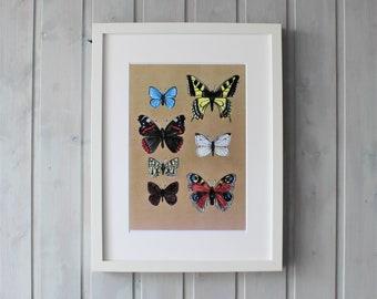 Download Print Poster Bild Schmetterlinge Vintage  A5 A4 A3