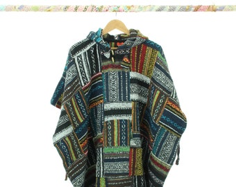 100% Woven Cotton Gheri Mexican Style Hooded Poncho