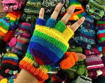 Handmade Chunky Wool Knit Fleece Lined Gloves Mittens Fingerless Shooter Nepal Unisex Mitts Boho Fingerless Hippie Handwarmers Plain