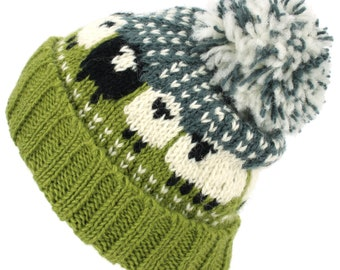 Hand Knitted Sheep Wool Beanie Bobble Hat Fleece Lined Men Ladies Warm Winter Lining Black Rainbow Green