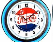 Pepsi Cola 5 Cents Bottle Cap Soda Pop 18 quot - 19 quot Double Neon Clock Blue Neon