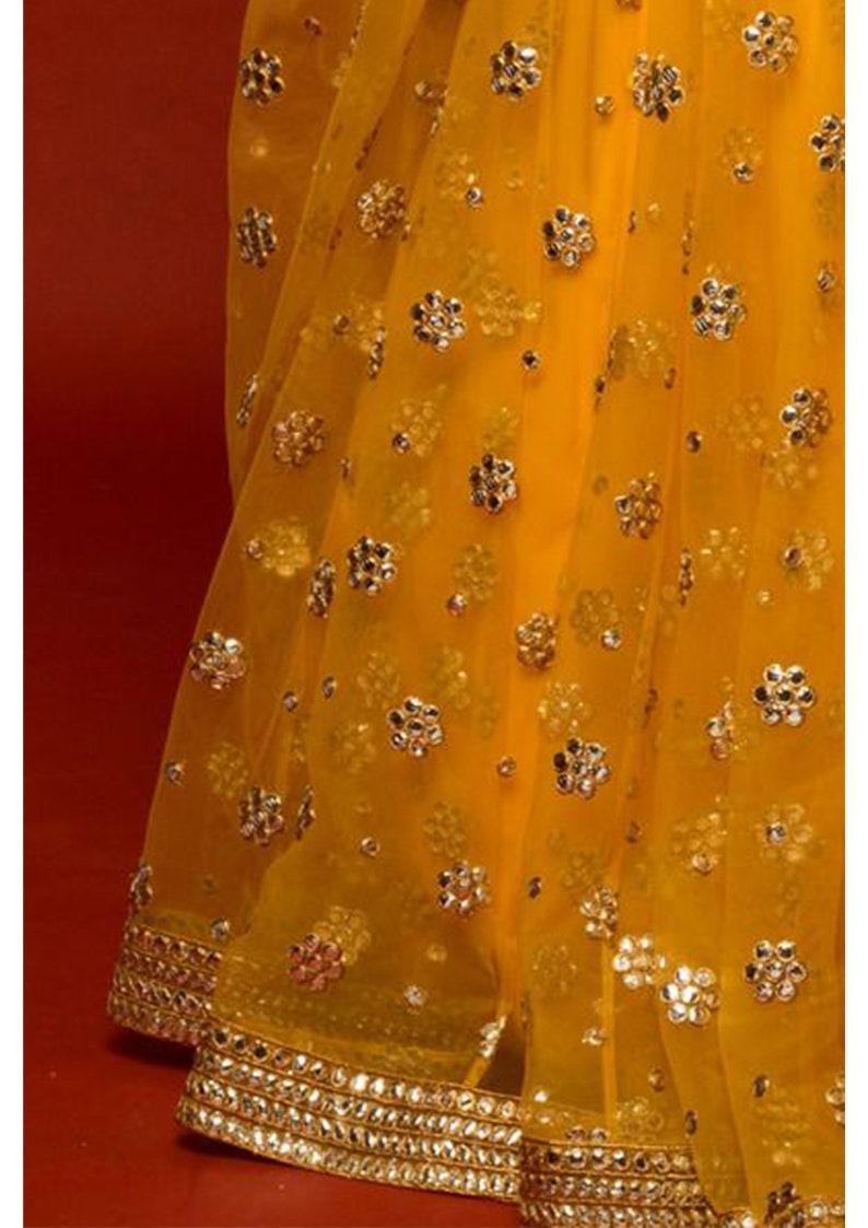 with gota patti work-for indian wedding-lehenga-lengha yellow lehenga choli