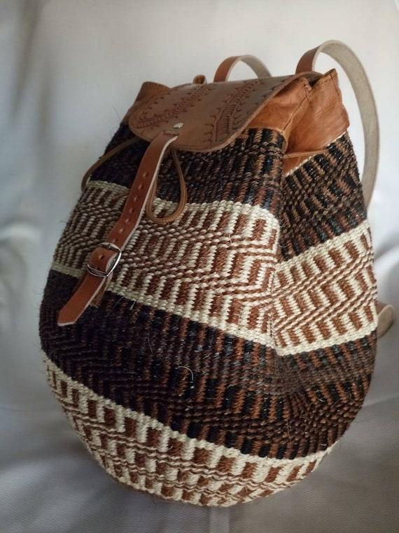 """African bag""""/""""Handwoven bag pack""""/""""Back pack sisal bags""""/""""natural colors bag"""""""