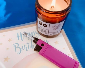 21th,30th,40th Birthday Gift Floral Personalised Candle
