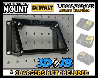 DEWALT DCB112/DCB113/DCB115 Battery Charger Wall Mount, Made in USA (Charger NOT Included)