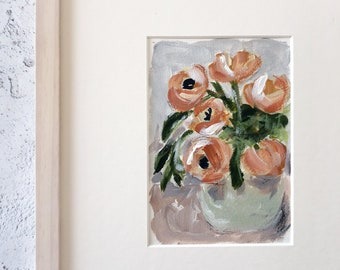 Floral Painting in Whitewash Frame