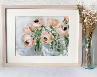 Colorful Floral Painting in Whitewash Frame