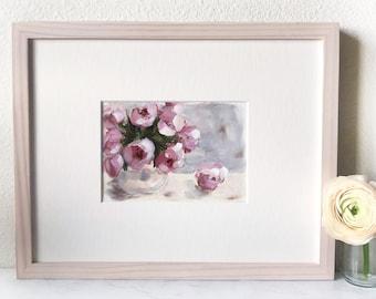Rose Painting in Whitewash Frame