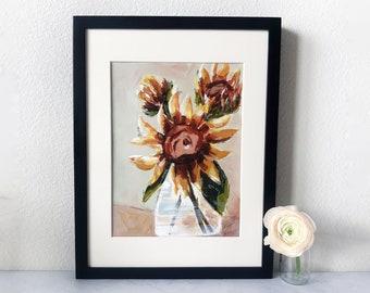 Sunflower Painting in Black Frame
