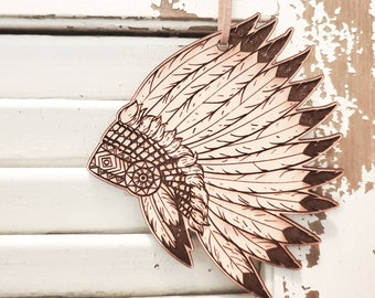tribal feather pendant charm Vermeil Gold Feather Folded 04-18k gold plated over 925 silver