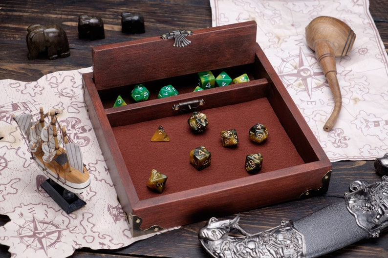 DnD Dice Tray Wood Dice Rolling Tray Dice Box Custom Dice Storage Wood Dice Tray Custom Rolling Tray DnD Dice Box Dungeons and Dragons