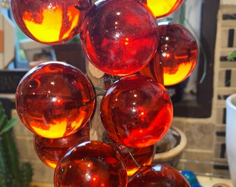 Vintage MCM lucite red grapes on wood branch