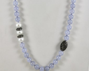 """Chalcedony, Pearl, and Diamond Sterling Silver Necklace - 20"""""""