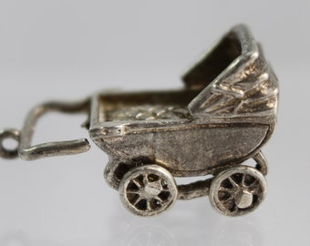 Sterling Silver Baby Buggy/Carriage Charm