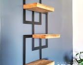 Metal Framed Triple Floating Shelves, Staggered Shelves, Modern Shelves, Plant Stand