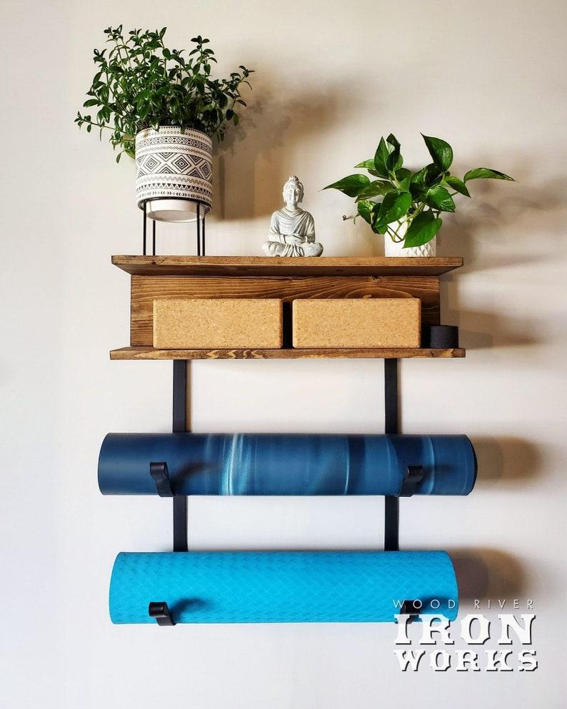 Yoga Mat Rack 2 Shelves with 2 Mat Racks Yoga Decor Gym Mat image 0