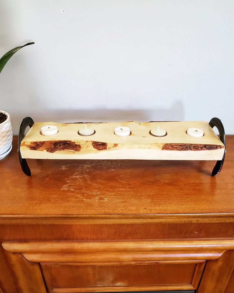 Live edge wood Rustic Candle Holder Gifts for her Farmhouse Decor Tea Light Holder Valentine/'s Day