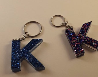 Letter F Customizable Initial Resin Glitter Keychain Zipper Charm for purse or backpack