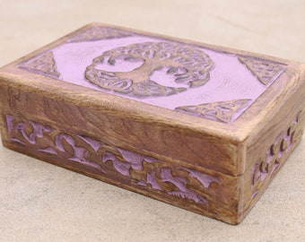 Tree of Life Design Wooden Jewelry Box for Women Jewelry Accessories Box /& Gifts