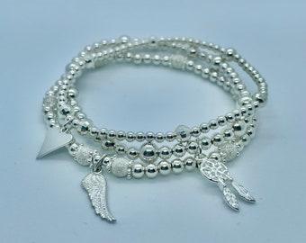Silver Stack Handmade Jewellery Stackable Jewellery Stacking Stack Stars Bracelet Stack Celestial Bracelets Star Gift