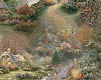 Foxglove Fabric by Thomas Kinkade