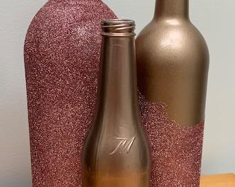 Glitter Large Wine Bottle Centerpiece