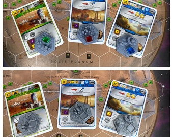 NEW Set VII - Card Appointed Cities for Terraforming Mars RESIN or Plastic - 3D Textured Tile Upgrade Set
