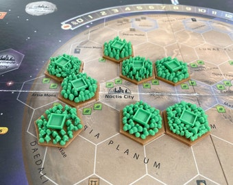 TWO COLOR - New 3D Textured Greenery Tree Forrest Tile Upgrade Set for Terraforming Mars