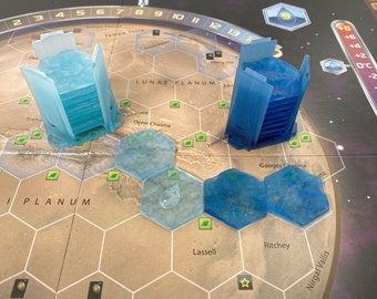 Resin Transparent Ocean Tiles and Holder for Terraforming Mars Upgrade (9 Tiles) 3 designs