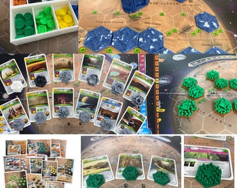 UPDATED - Complete Game Set Combo (tiles, cities, greenery, tokens, mats, special pieces) for the board game Teraforming Mars.