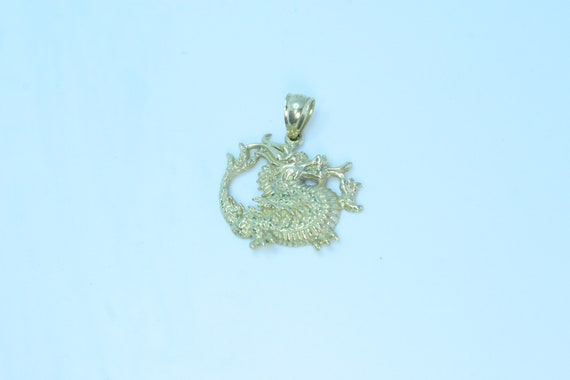 14k Gold Dragon Pendant for Necklace