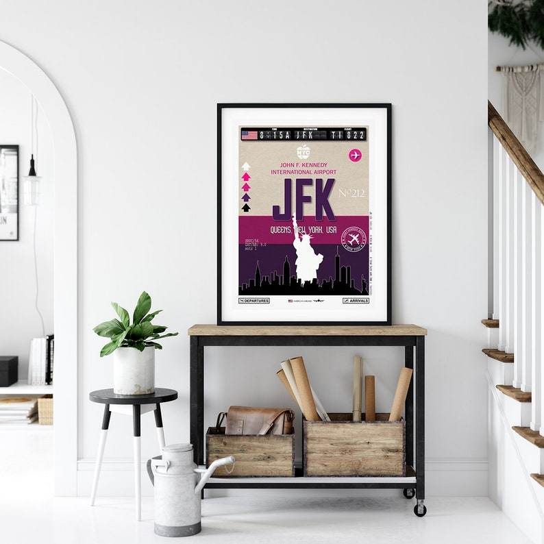 USA travel poster Poster New York travel poster Vintage travel poster Wall art Gift Airport tag Print Home decor Art Artwork