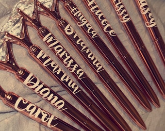 Diamond Pen, Name Decal, Bridesmaid Gift, Will you be my bridesmaid, Planner Pen, Pen with Name