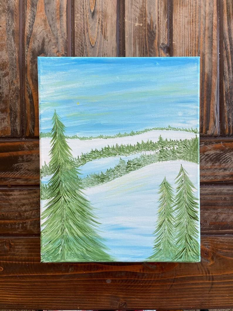 Ski Lodge Home Acrylic Mountain Cabin Ski Decor Original Painting Snowy Mountain Painting Rustic Decor