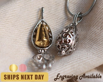 Personalized Vintage Teardrop Cremation Jewelry • Custom Pet Urn Necklace Memorial Jewelry • Ashes Necklace • With Free Funnel Kit •A122-123