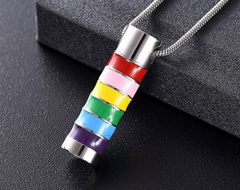 Personalized Rainbow Pride Necklace Cremation Necklace for Ashes Cremation Jewelry A112 Ashes Necklace Urn Necklace for Ashes Pendant