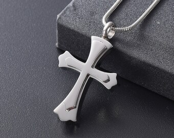Chain Sold Separately Cross With Pink Center Stone Cremation Pendant