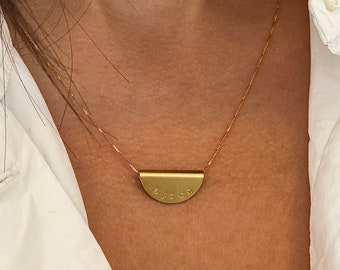 BITCH Hand stamped pendant Funny Rude Jewellery gold necklace 16K Gold platedRaw Brass
