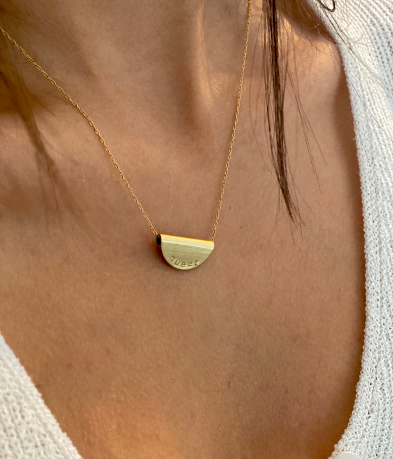 16K Gold plated with 100/% Raw Brass QUEER Stamped Necklace LGBTQI Gay Lesbian Queer Pendant WomenMen Gift.