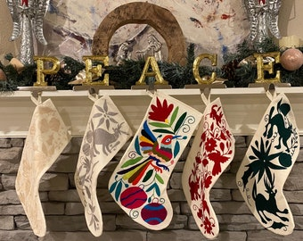 Otomi Holiday Stocking, Hand-embroidered. Unique holiday Stocking. Otomi Christmas Stocking.