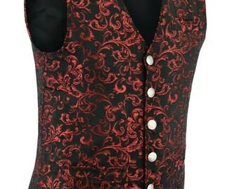 Men Fashion Gothic Vintage Damask Pattern Steampunk Victorian Waistcoat Vest