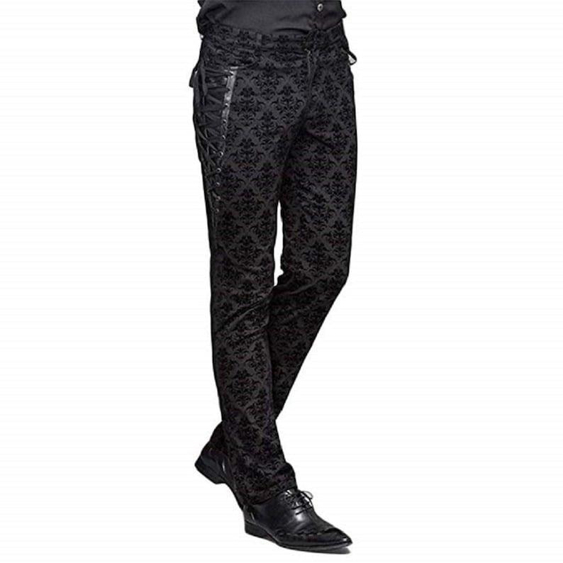 Men's Steampunk Pants & Trousers Prime Quality Handmade Tripp Men Black Brocade Dress Pants Victorian Printed Bandage Bridal Pants $79.85 AT vintagedancer.com