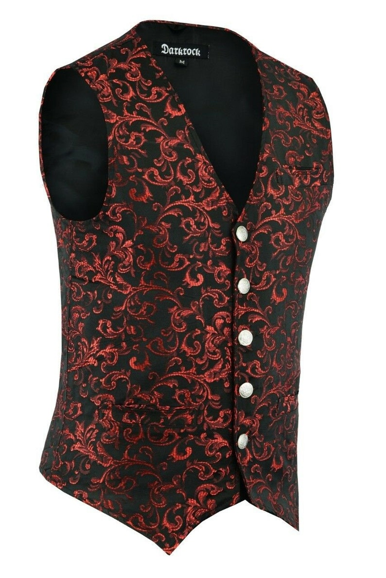 Men's Steampunk Vests, Waistcoats, Corsets Mens Handmade Red Tailored Formal Waistcoat Gothic Steampunk Brocade Vest Victorian  AT vintagedancer.com