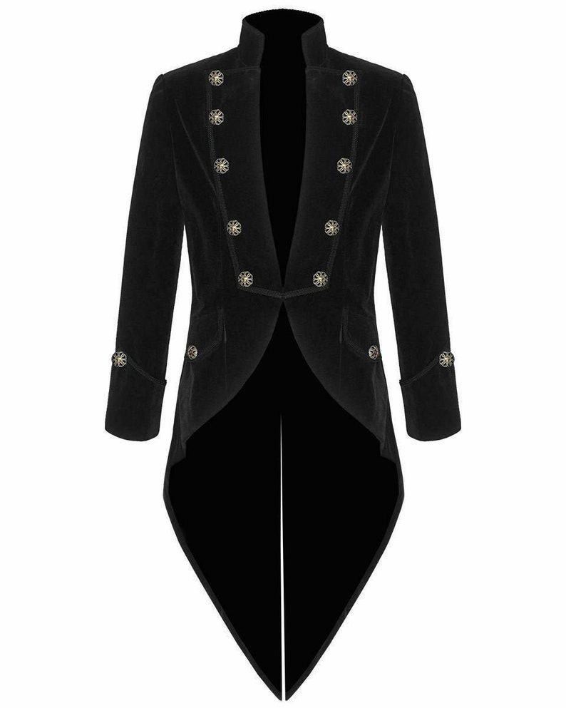 Men's Steampunk Jackets, Coats & Suits Mens Handmade Black Velvet VLADIMIR TUXEDO Jacket Tail coat Goth Steampunk VictorianFree Shipping USA $89.00 AT vintagedancer.com