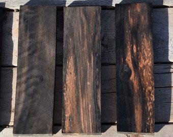 """Gaboon Ebony Cutoffs, knife scales blank, kiln dried, 2""""x7""""x.5"""", marbled black, 1 qty"""
