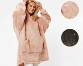 GLITTER BLANKET HOODIE Uk. Womens Teddy Fleece Giant Oversized Wearable Sweatshirt. One Size Warm and Comfy gift.